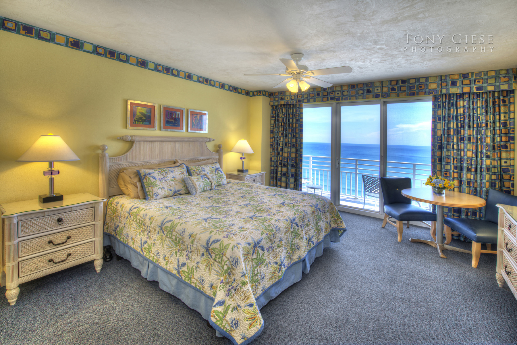 Condo Master bedroom with a ocean view, Ocean Walk Resort, Daytona Beach, Florida. Photo by Tony Giese Photography