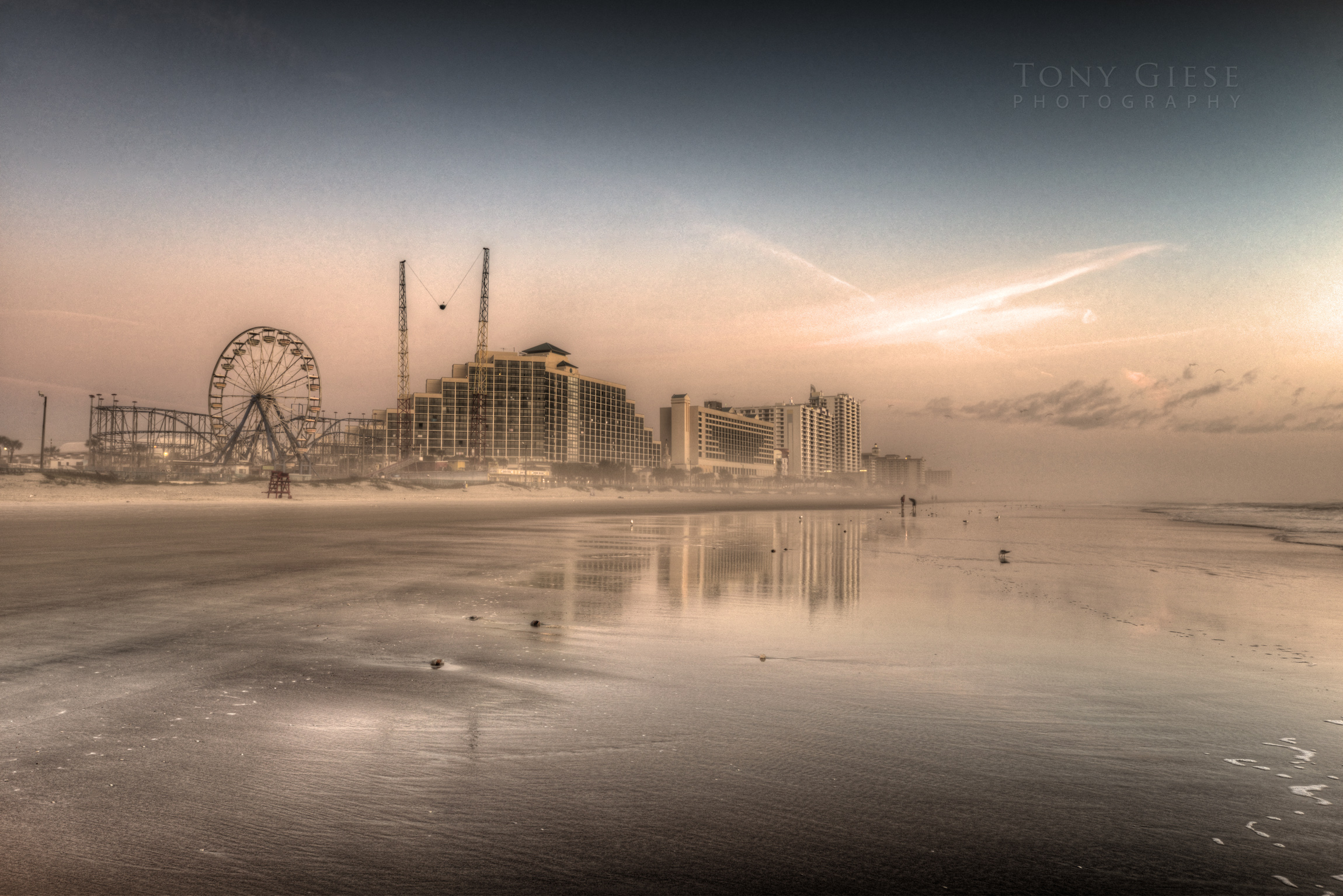 Foggy morning on Daytona Beach, Florida.
