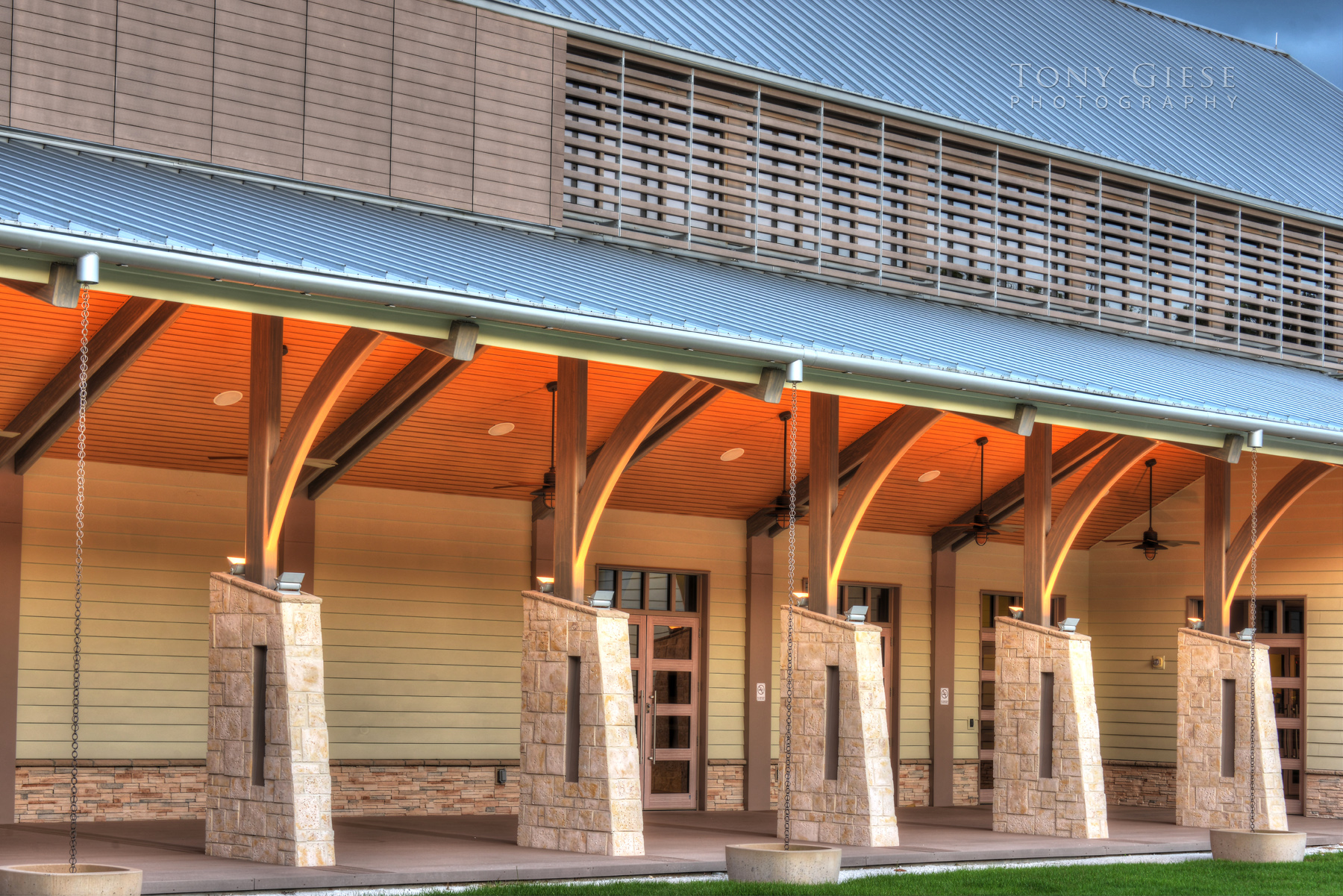 Early morning exterior of Cici and Hyatt Brown Museum architecture photography by Tony Giese