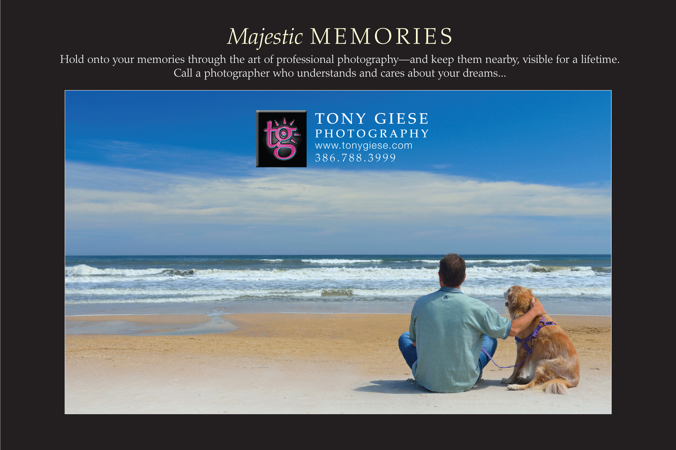 Tony and his 13 year old golden retriever enjoy a blue sky Daytona Beachocean view.