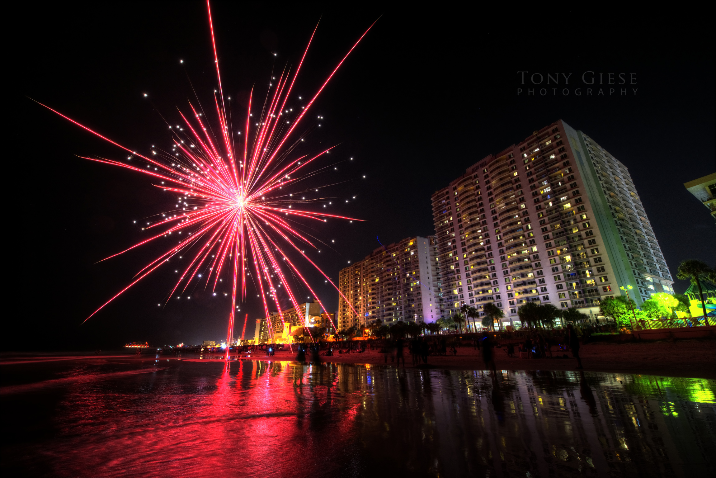 Fireworks on Daytona Beach in front of Wyndham Ocean Walk resort.