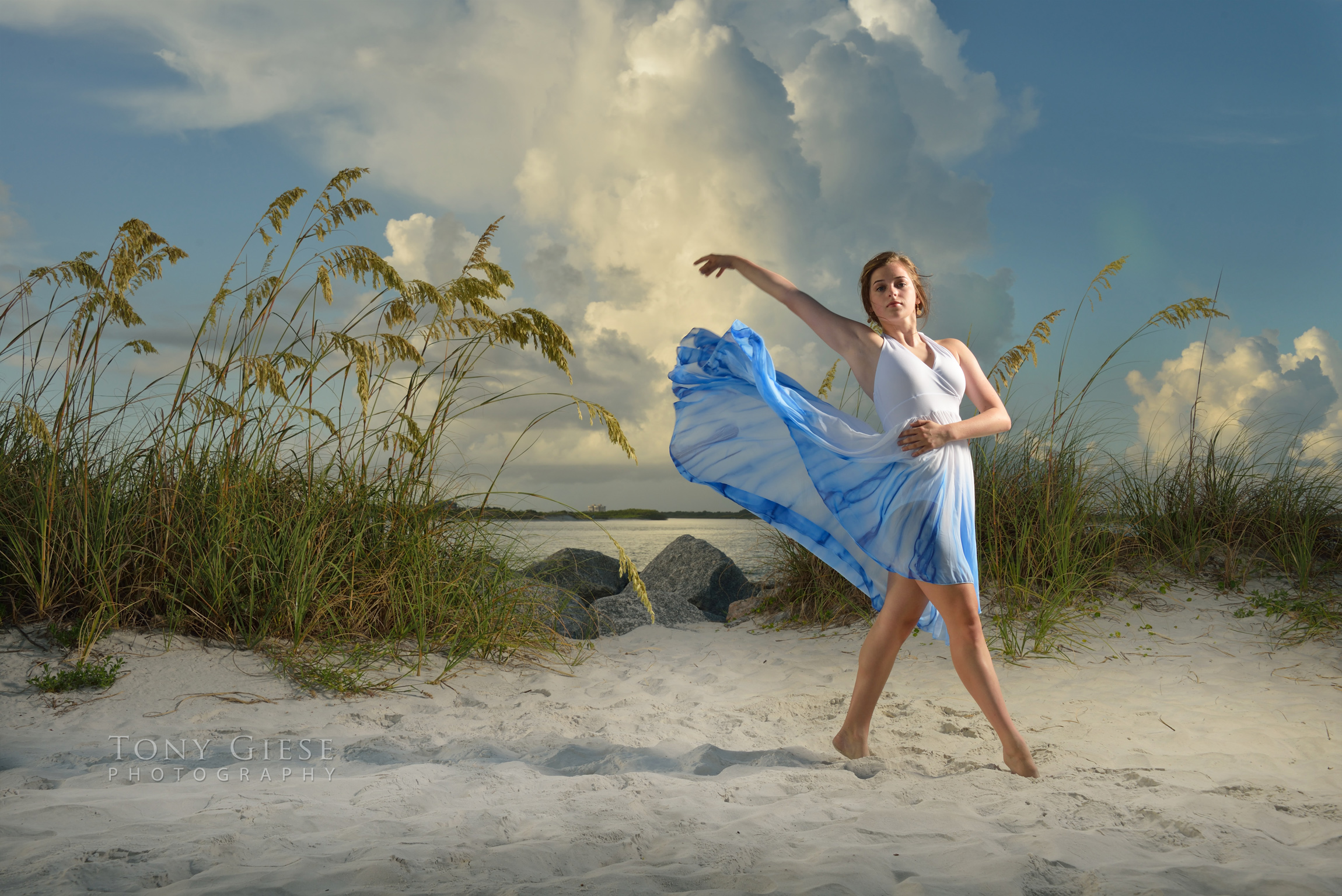Tahnee dancing on the beach, Light house Point Park, Florida. Photo by Tony Giese