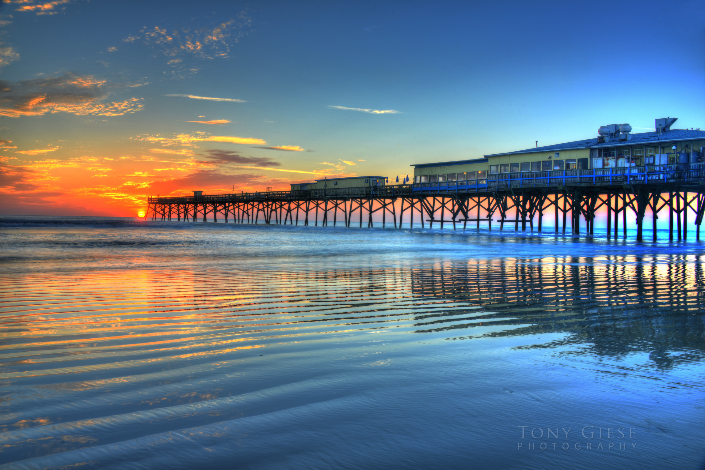 Beach Reflection of Sunglow Pier
