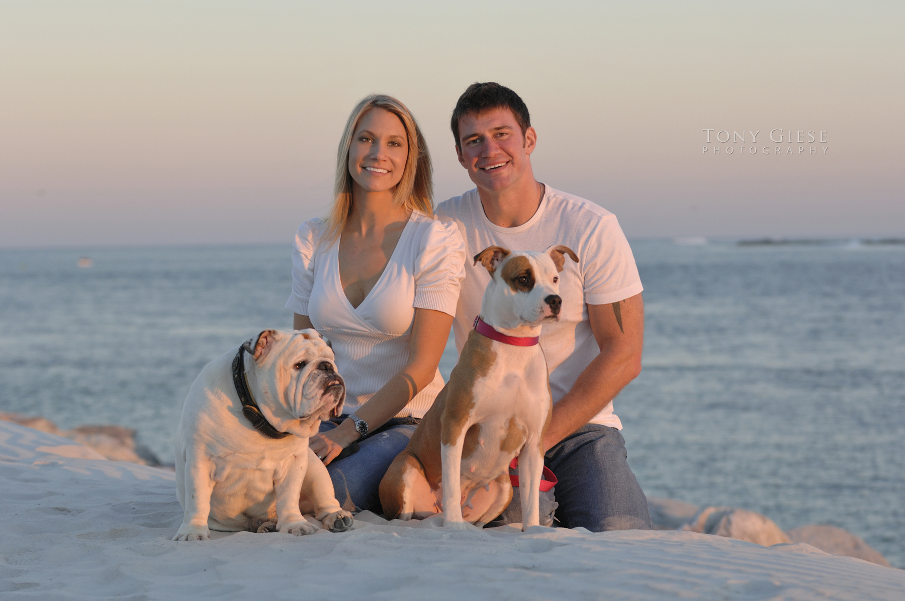 Dusk Family portrait session with two dogs at Lighthouse Point Park, Ponce Inlet, Florida.